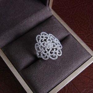 🆕18k White Gold AAA 195+ Cz Victorian Design 8